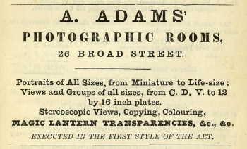 A. Adams Photographic Rooms advert